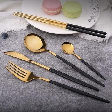 Pink&More 36 Parça Parlak Altın Siyah Çatal Bıçak Seti Siyah